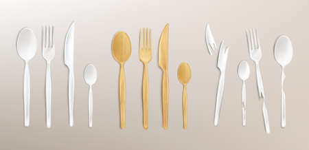 3d cutlery wood and broken plastic, disposable fork, spoon and knife. Isolated bamboo biodegradable table setting made of natural eco recycle reusable material, Realistic vector illustration, set