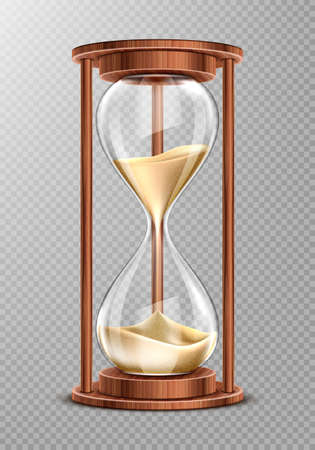 Wooden hourglass with falling sand isolated on transparent background. Ancient clock, symbol of patience and running time, retro glass watches with wood decoration, Realistic 3d vector illustration