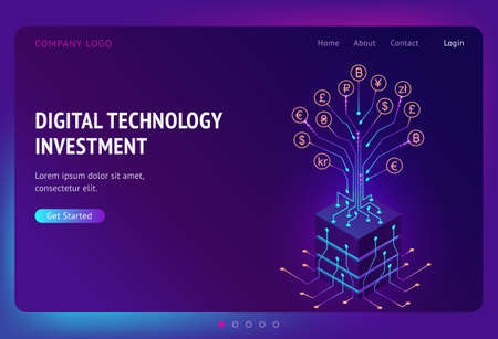 Digital technology investment isometric landing page. Business profit growth concept, returns on investment with money tree, currency and cryptocurrency coins on circuit branches, 3d vector web banner