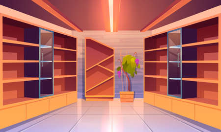 Wine shop, cellar interior with empty wooden shelves, showcase with glass door, potted grapes vine, tiled floor and glow lamps. Alcohol beverage store in building basement. Cartoon vector illustration