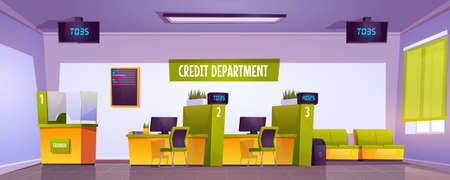 Bank office interior with cash box, staff desk and reception counter. Vector cartoon illustration of credit department in empty bank lobby with furniture and queue displays