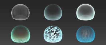 Bubble shields, protection force fields. Vector realistic set of safety energy barrier, security defence in transparent sphere with grid pattern isolated on gray background Vettoriali