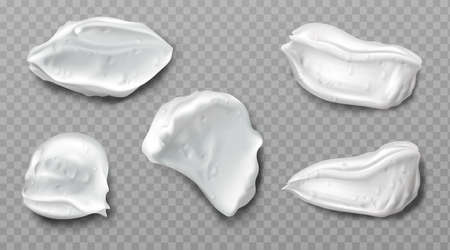 Foam cream swatches isolated on transparent background. Vector realistic smears set of white froth cosmetics, shaving gel or creme. Smudges of mousse, beauty product for face or body care