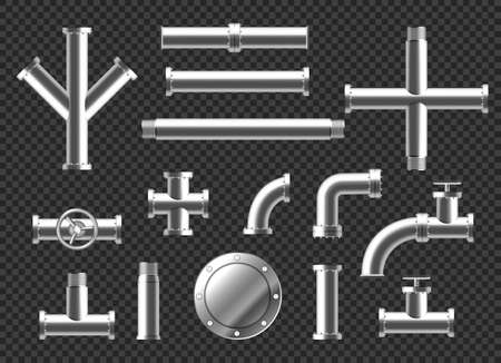 Pipes and tubes plumbing fittings realistic 3d vector set. Metal or plastic pipeline with valves, thread and faucets. Stainless steel metallic ramified connections isolated on transparent background