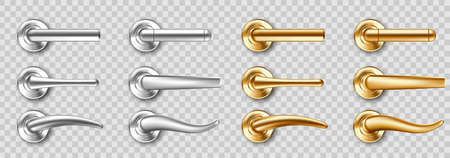 Realistic door handles set, golden and silver knobs of different shapes. Shiny gold and steel modern metal doorknobs, design elements for interior isolated on transparent background 3d vector icons