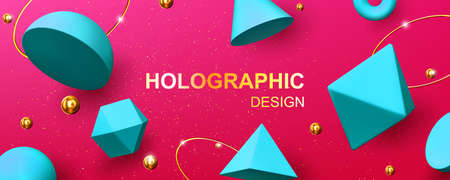 Holographic background with 3d geometric shapes, golden balls, rings and glitter. Vector abstract design with turquoise render figures, cone, pyramid, octahedron and torus on pink background 矢量图像