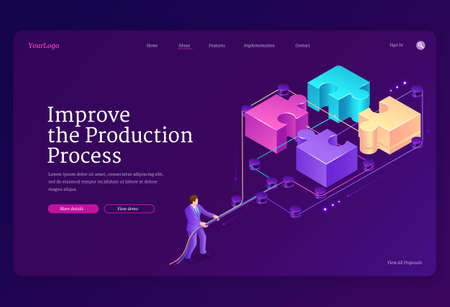 Teamwork concept with puzzle pieces and leverage. Improve production process banner. Vector landing page with isometric illustration of businessman connects jigsaw blocks together 向量圖像