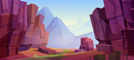Mountain landscape with canyon, red dry ground and green grass on old riverbed. Vector cartoon illustration of nature park with gorge, stone cliffs and rocks. Grand canyon national park Illustration