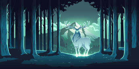 Magic deer in night forest, mystical stag with glowing eyes and body, soul of nature, wood protector, totemic animal at trees and mountain landscape, majestic reindeer, Cartoon vector illustration Vector Illustratie