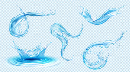 Water splashes, blue liquid waves with swirls and drops. Vector realistic set of flowing and falling clear pure aqua, fluid splashing isolated on transparent background