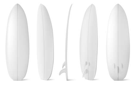 White surfboard front, side and back view. Vector realistic mockup of blank long board for summer beach activity, surfing on sea waves. Leisure sport equipment isolated on white background