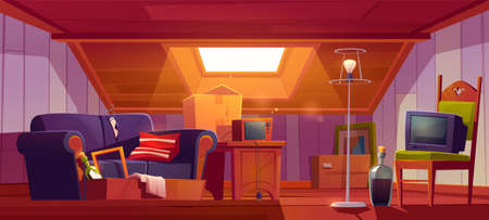 Attic room with old things, garret with roof window and furniture. Discreet place with antique switched-off TV set, radio, carton boxes, wine bottle, table and floor lamp. Cartoon vector illustration Ilustracja