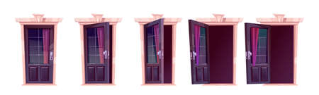 Cartoon door opening motion sequence animation. Close, slightly ajar and open wooden doorways with glass windows, curtain and darkness inside. Home facade, entrance. Vector illustration, icons set