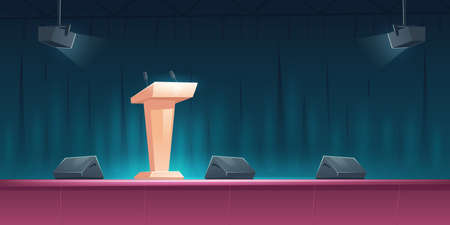 Podium, tribune with microphones on stage for speaker on conference, lecture or debate. Vector cartoon illustration of empty scene for presentation and public event with pulpit and spotlights