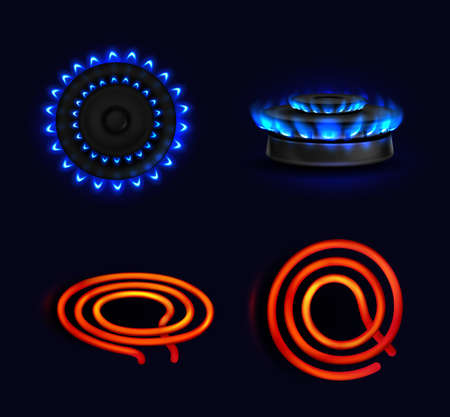 Hotplates, burning gas stove and electric coil, blue flame and red electric spiral top and side view. Kitchen burner with lit hobs, cooking oven, isolated glowing cooktops, Realistic 3d vector set