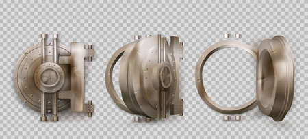 Old round safe door, metal bank vault gate isolated on transparent background. Vector realistic set of closed and open crumpled steel circle door with lock. Rusty iron bunker gates Иллюстрация