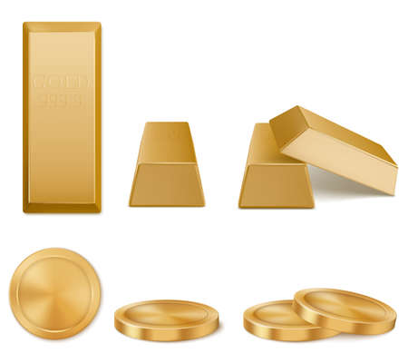 Golden bars, yellow metal ingots and coins isolated on white background. Concept of money investment, solid currency, financial reserve. Vector realistic set of pure gold bullions and coins top view 矢量图像