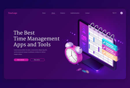 Time management apps and tools isometric landing page, computer desktop with planner or calendar on screen and alarm clock, pc software for work organization, planning and control 3d vector web banner