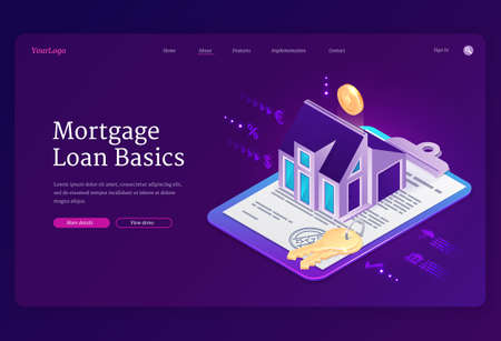 Mortgage loan basics banner. Concept of purchase house with bank credit, invest in real estate. Vector landing page of property mortgage with isometric home, keys, money and financial contract