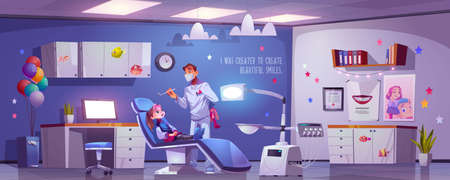 Dental room for kids with girl sitting in chair and doctor. Vector cartoon illustration with dentist and child patient in stomatology office in clinic or hospital. Kids tooth treatment and care Stock Illustratie