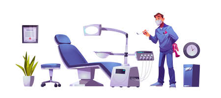 Kids dentist doctor in dental clinic stomatology cabinet, orthodontist with mirror and toy at workplace with modern chair equipped with integrated engine and surgical light cartoon vector illustration
