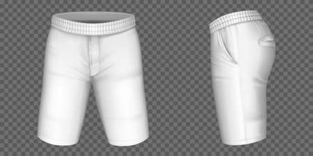 White shorts for men vector mockup, male pants with pockets and rubber band template front, side view. Realistic 3d blank apparel design, sportswear, casual clothing isolated on transparent background 向量圖像