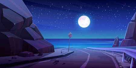 Mountain road with night seaview, empty asphalt highway under full moon glow in starry sky at summer time. Rocky landscape with ocean, turn sign, speedway scenic background Cartoon vector illustration