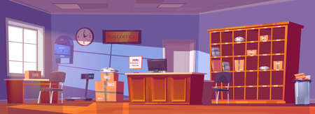 Post office, service for delivery and storage mail, parcels, orders and newspapers. Vector cartoon interior of postal with counter desk, cardboard boxes and letters on shelves, mailbox 矢量图像