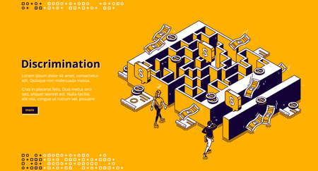 Discrimination banner. Concept of gender inequality in business, difference in wage and opportunities for professional career. Vector isometric illustration of maze, money, woman and man