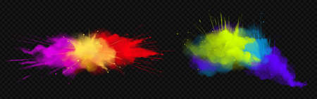 Powder Holi paints colorful clouds or explosions, ink splashes, decorative vibrant dye for festival isolated on transparent background, traditional indian holiday. Realistic 3d vector illustration