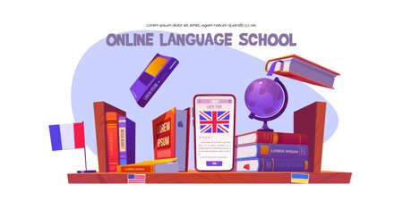 Online language school banner. Concept of digital training foreign languages, distance study. Vector cartoon illustration of shelf with books, english dictionary, globe and smartphone