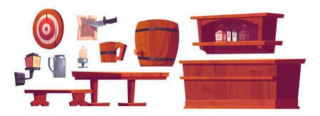 Beer pub, saloon, retro bar interior stuff and furniture wooden bench and desk, barrel, tankard, shelf with bottles, lantern, candles and darts, tin jar and old parchment with knife Cartoon vector set