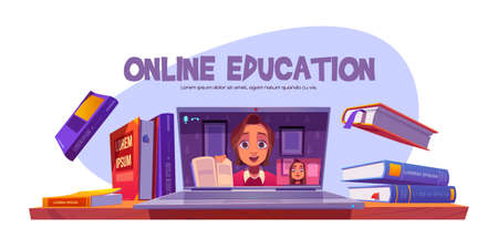 Online education banner with teacher conduct webinar for student remotely, girl studying via internet. Tutor teaching distant, video training technology, computer software, cartoon vector illustration