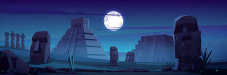 Moai statues and pyramids at night, republic of Chile travel famous landmark stone heads on under full moon on Easter Island or Rapa Nui, South America archaeology monument cartoon vector illustration
