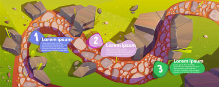 Infographics with road top view and steps time line, curve way, rocky windy trail with pebbles, green grass and rocks along, valley scenic landscape, hill path infographic cartoon vector illustration