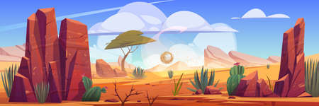 Desert of Africa natural background with tumbleweed rolling along hot dry deserted african nature landscape with yellow sand, green cacti, rocks under blue sky with light clouds cartoon illustration