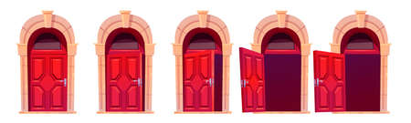 Cartoon door opening motion sequence animation. Close, slightly ajar and open wooden red doorways with stone arch and glass window. Home facade design element, entrance. Vector illustration, icons set