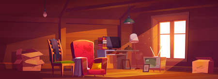 Attic room with old things, garret with window, wooden walls and furniture. Cozy place with antique switched-off TV set, carton boxes, computer, table with books and lamps. Cartoon vector illustration