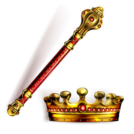 Golden scepter and crown for king or queen, royal wand and corona with red gems for Monarch. Gold monarchy emperor symbols, imperial coronation headwear, rod or mace, Realistic 3d vector illustration Vecteurs