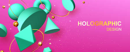 Holographic abstract design banner with geometric 3d shapes hemisphere, octahedron, sphere or torus, cone, cylinder and pyramid with icosahedron on pink background with gold pearls vector illustration 向量圖像