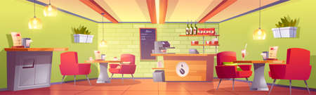 Coffee house or cafe interior with cashier desk, machine, chalkboard menu, shelf with roasted beans packs, tables and armchairs, litter bin. Empty cafeteria, food court. Cartoon vector illustration