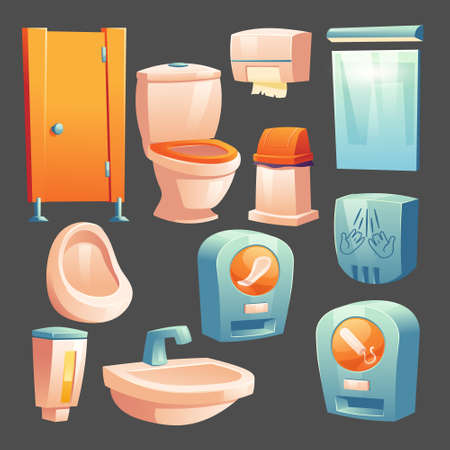Public toilet stuff cubicle, ceramics bowl and urinal, container with liquid soap, litter bin and paper wipes, automat with hygienic woman pads and tampons, hand dryer, mirror Cartoon vector set