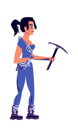 Girl rock climber in sports equipment with a pickaxe in hands, cartoon vector illustration isolated on a white background