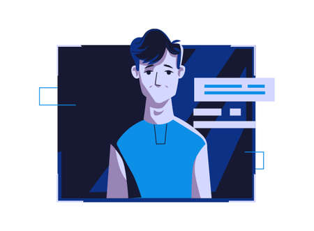 Modern people avatar in casual clothes, vector cartoon illustration. Man with individual face and hair, in light digital frame on dark blue computer background, picture for web profile 向量圖像