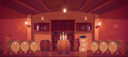Wine shop, cellar interior with wooden barrels, shelves with glass bottles, boxes with production and glow lamps or candles. Alcohol beverage store in building basement. Cartoon vector illustration