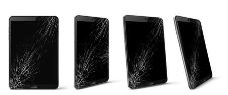 Mobile phone with broken screen front and side view, smashed smartphone, shattered electronics device with black touchscreen covered with scratches and cracks, Realistic 3d vector illustration, set 向量圖像