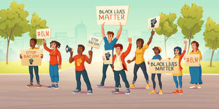 People hold banners with black lives matter and fist on city street. Vector cartoon illustration of protest demonstration against racism. White and african american activists act for human rights