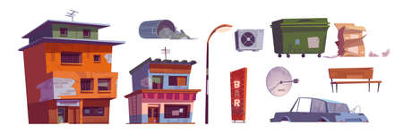 Ghetto buildings, litter bin, broken car, bar signboard, street lamp, carton boxes, ventilation and satellite antenna, abandoned ruined old houses. Dilapidated dirty street isolated cartoon vector set