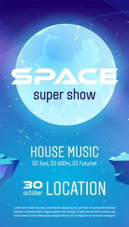 Space super show flyer, cartoon poster for house music concert with alien planet surface and starry sky. Galaxy, cosmos, universe futuristic fantasy view background, vector illustration, invitation