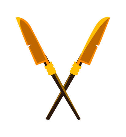 Ancient crossed spears or halberds cartoon vector icon. Antique weapon with wooden polearms or shafts and yellow metal blades crossed and isolated on white background, illustration for game design